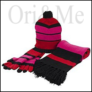 Cherry Bubblegum Stripe Hat, Gloves and Scarf